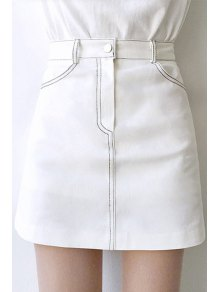 Solid Color High Waisted Mini Skirt