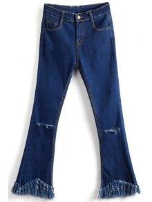 Tassels Spliced Ripped Boot Cut Jeans