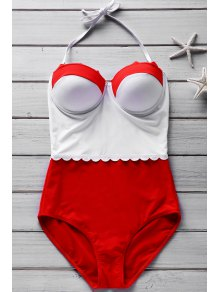 Hit Color Halter One-Piece Swimwear - Red