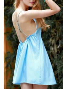 Backless Spaghetti Straps Solid Color Dress - Blue