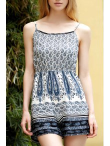 Backless Spaghetti Straps Printed Romper