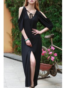 Draped Sleeve Cold Shoulder Maxi Prom Dress - Black S