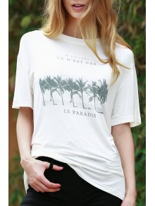 Coconut Palm Print White T-Shirt