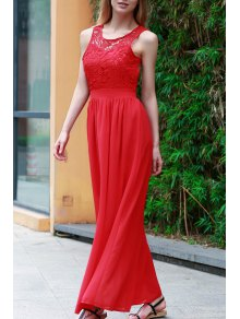 Lace Splice Jewel Neck Sleeveless Maxi Dress - Red M