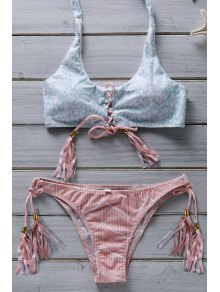 Flower Print Lace Up Bathing Suit - Pink S
