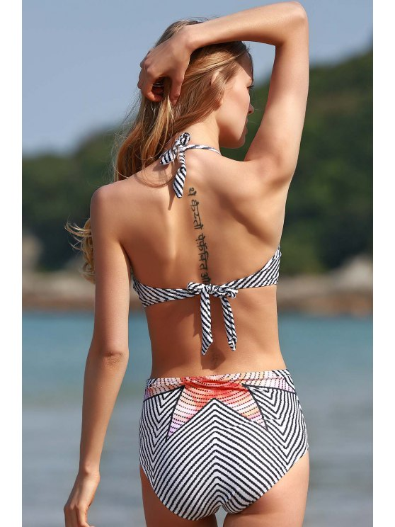 High-Neck Striped One-Piece Swimwear - WHITE S Mobile