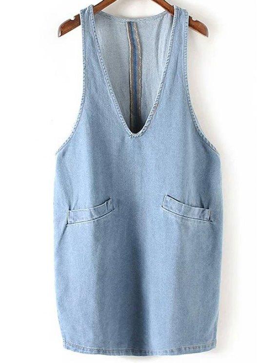 buy Double Pocket Plunging Neck Sleeveless Denim Dress - LIGHT BLUE L