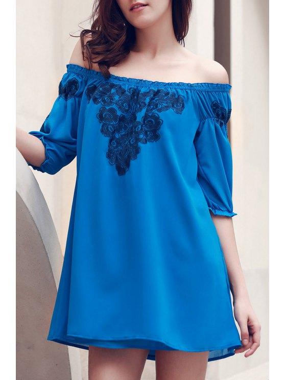 Off The Shoulder Floral Embroidered Short Sleeve Dress - BLUE S Mobile
