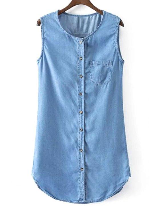 Sin mangas de un solo pecho de vestido de dril de algodón - Azul M