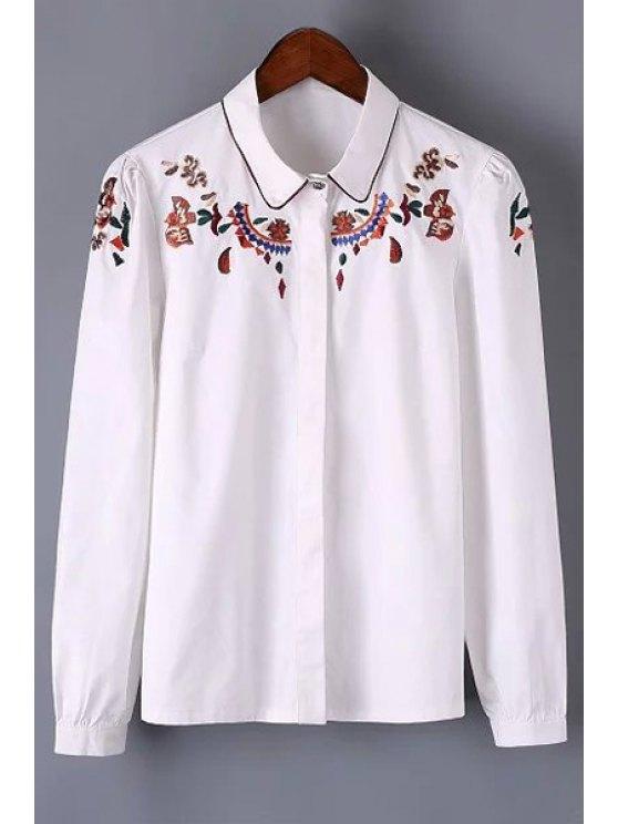 كم طويل مطرز قميص - أبيض M
