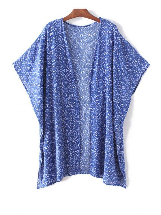 باتوينغ الأكمام المطبوعة بلوزة مفتوحة - أزرق L