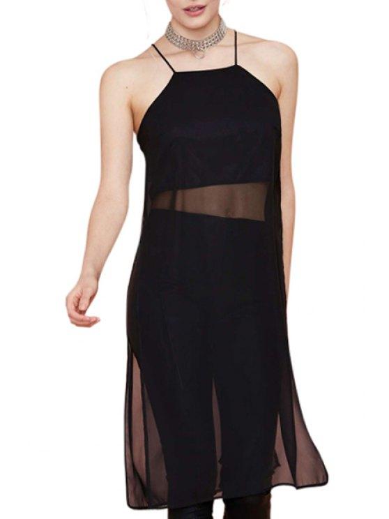 sale Black Spaghetti Straps Chiffon Dress - BLACK S