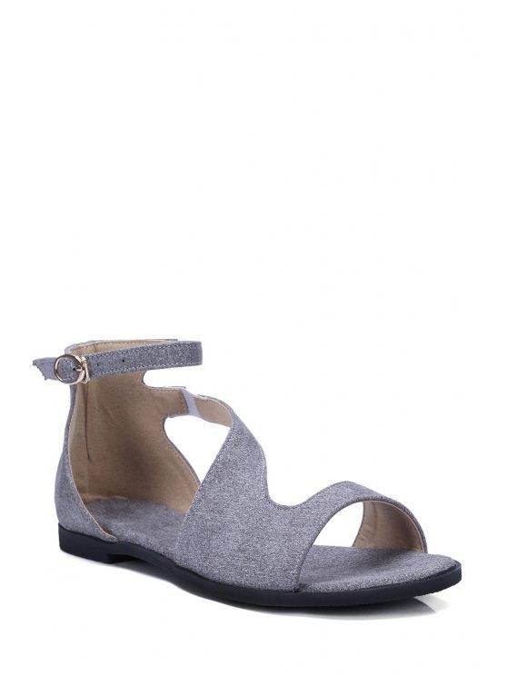 shops Solid Color Ankle Strap Flat Heel Sandals - GRAY 39