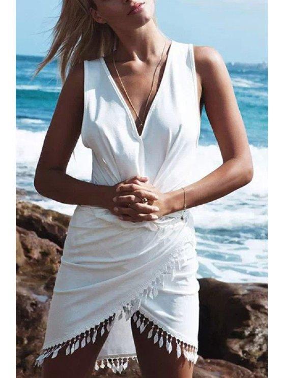 affordable Asymmetrical Lace Trim Surplice Dress - WHITE S