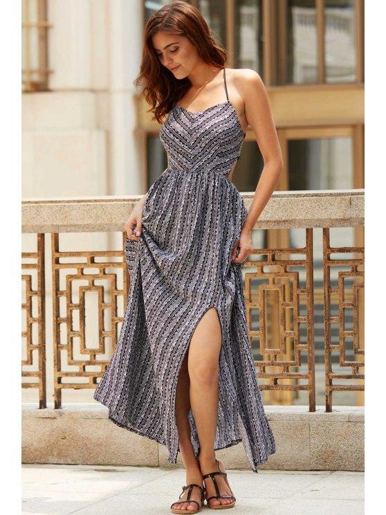 online Ethnic Print Cami Slit Maxi Dress - BLACK L