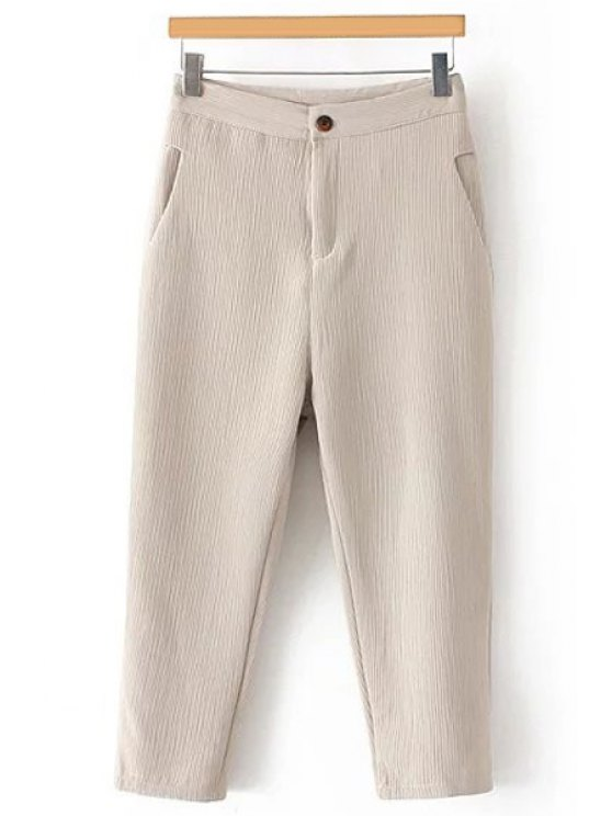 women's Pleated Straight Leg Capri Pants - OFF-WHITE M