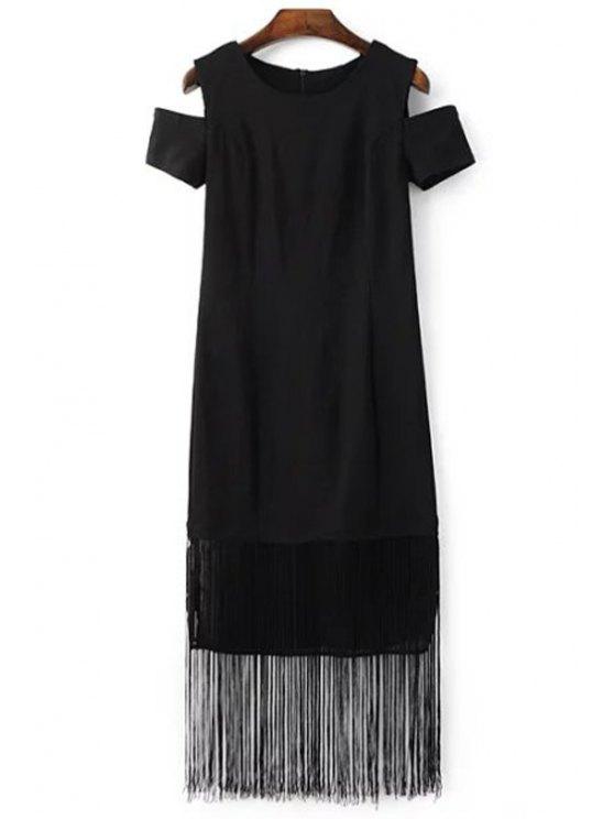 womens Black Tassels Holloe Out Short Sleeve Dress - BLACK M