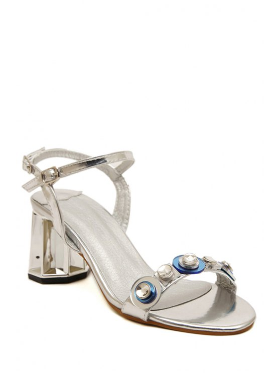 hot Rhinestone Metallic Color Chunky Heel Sandals - SILVER 38