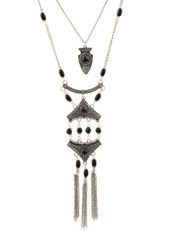 Tassel Layered Pendant Necklace -   Mobile