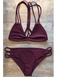 Women High-Cut Hollow Out Swimsuit Slip - Wine Red M