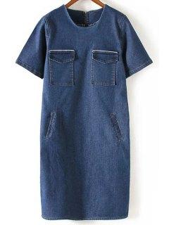 Loose Pockets Round Neck Short Sleeve Denim Dress - Deep Blue M