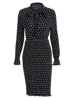 Bowknot Polka Dot Jewel Neck Long Sleeve Dress - Black