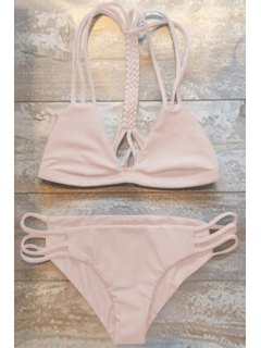 Women High-Cut Hollow Out Swimsuit Slip - Pink Xl