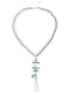 Faux Beryl Tassel Multilayered Necklace - Silver