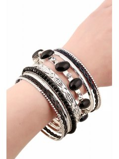 Rhinestone Faux Gem Multilayered Bracelet - Black