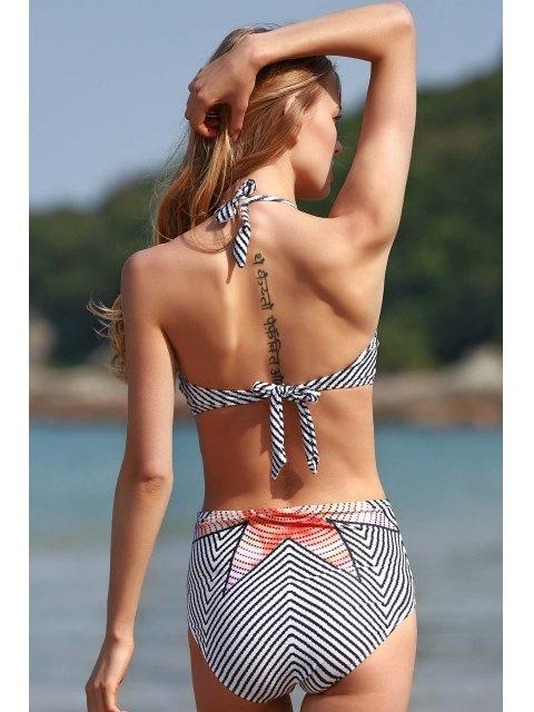 unique High-Neck Striped One-Piece Swimwear - WHITE M Mobile
