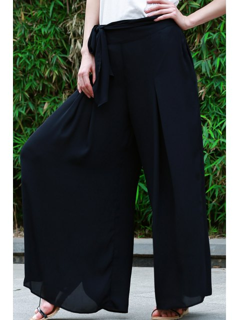 unique High-Waisted Tie-Up Culotte - BLACK S Mobile