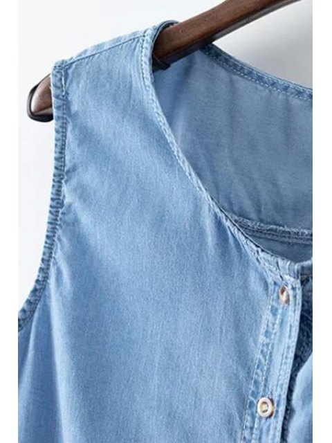 outfit Sleeveless Single-Breasted Denim Dress - BLUE M Mobile