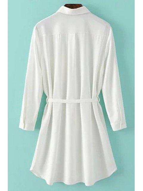 trendy One-Pocket Rolled Sleeve Shirt Dress - WHITE S Mobile