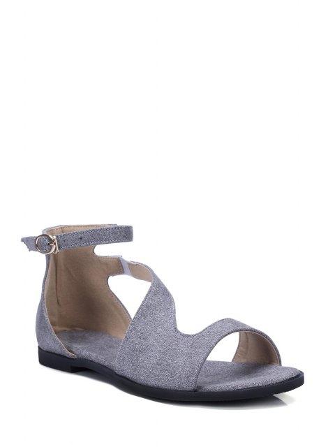 shops Solid Color Ankle Strap Flat Heel Sandals - GRAY 39 Mobile