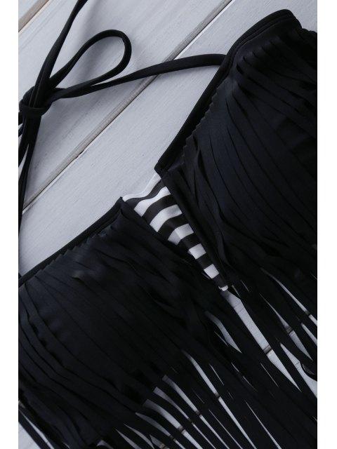new Printed Tassels Spliced Bikini Set - WHITE L Mobile