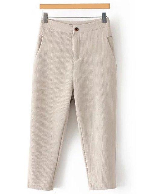 women's Pleated Straight Leg Capri Pants - OFF-WHITE M Mobile