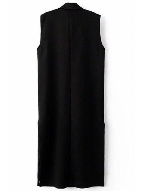 women Black Side Slit Lapel Neck Sleeveless Waistcoat - BLACK M Mobile
