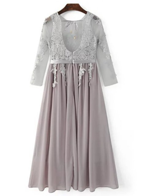 ladies Lace Splice Round Neck 3/4 Sleeve Backless Dress - LIGHT GRAY L Mobile