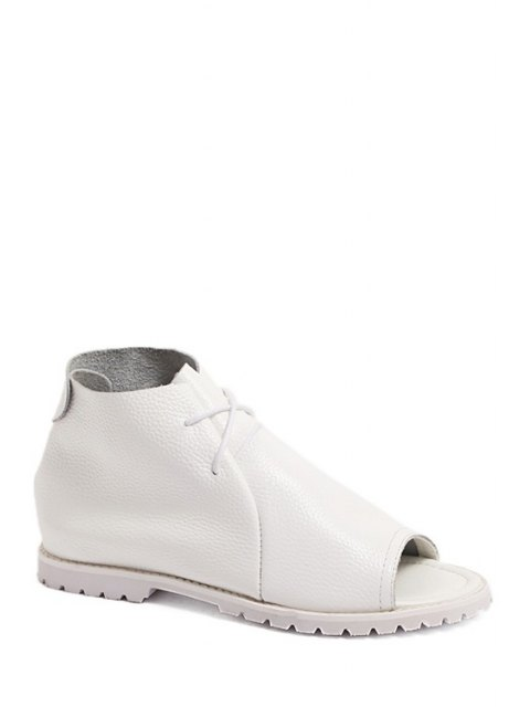 women's Solid Color High Top Peep Toe Shoes - WHITE 37 Mobile