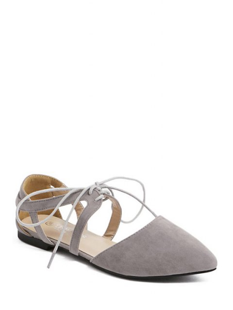 latest Hollow Out Flock Lace-Up Flat Shoes - GRAY 40 Mobile