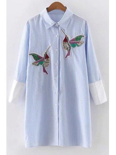 Vestido Rayado Del Pájaro De Las Lentejuelas Bordado - Azul