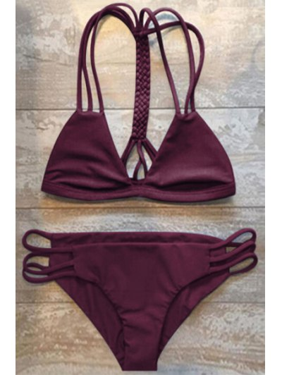 Women High-Cut Hollow Out Swimsuit Slip - Wine Red