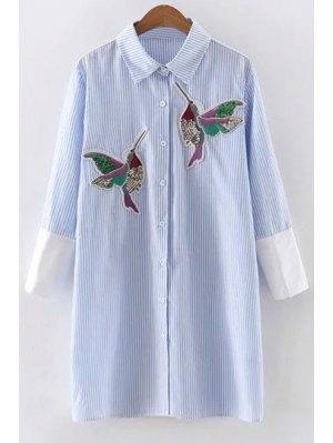 Embroidered Sequins Bird Striped Dress - Blue