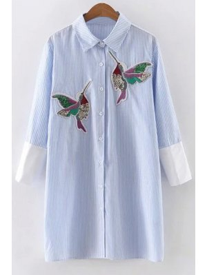 Embroidered Sequins Bird Striped Dress - Blue