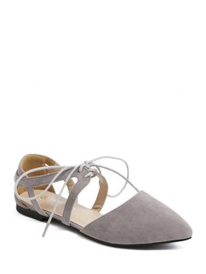 Hollow Out Flock Lace-Up Flat Shoes - Gray
