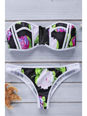 Color Block Floral Print Bikini Set