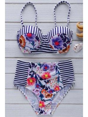 Floral Cute High Waist Cami Bikini Set - Blue And White