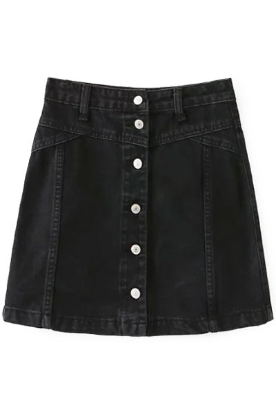 High Waist A-Line Black Single-Breasted Skirt