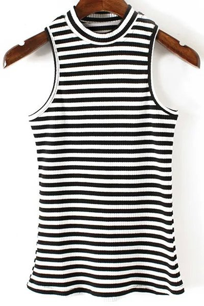 Jewel Neck Fitted Striped Tank Top