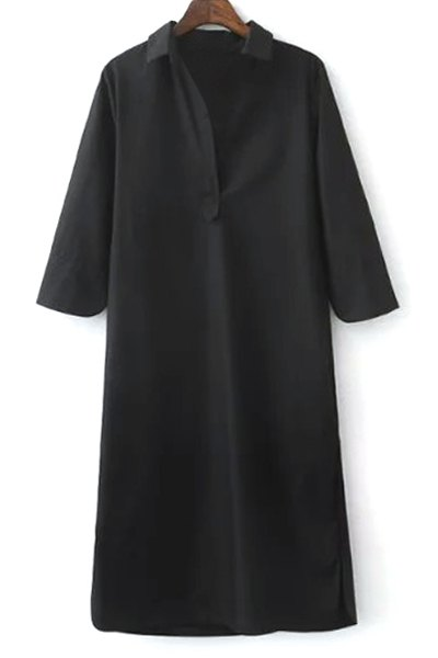 3/4 Sleeve Side Slit Shirt Dress